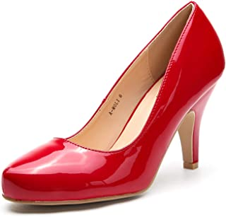 Ashley A MOLI Formal Evening Dance Classic Low Heel Pump Shoes for Women Red Size: 8.5