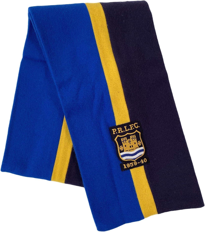 MEN'S BLUE/YELLOW STRIPED FOOTBALL CLUB SOCCER CREST FELTED VIRGIN WOOL WINTER SCARF