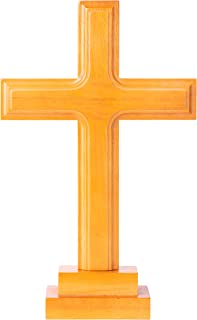 Wooden Standing Cross Decor, Altar Cross with Stand, Wood Cross Large with Double-Sided Display, Standing Table Cross for ...