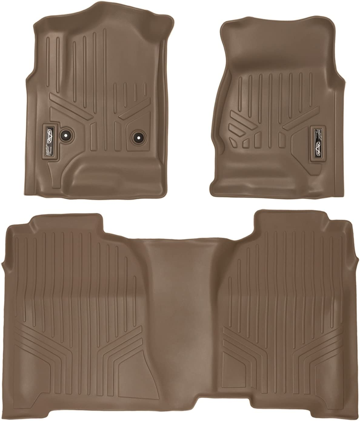 MAXLINER Floor Mats 2 Row Liner Set New Shipping Free Shipping for Ranking TOP5 2014-2018 Tan Cab Crew S