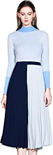 LAI MENG FIVE CATS Women's Casual Two-Piece Career Tunic A-line Midi Skirt Dress