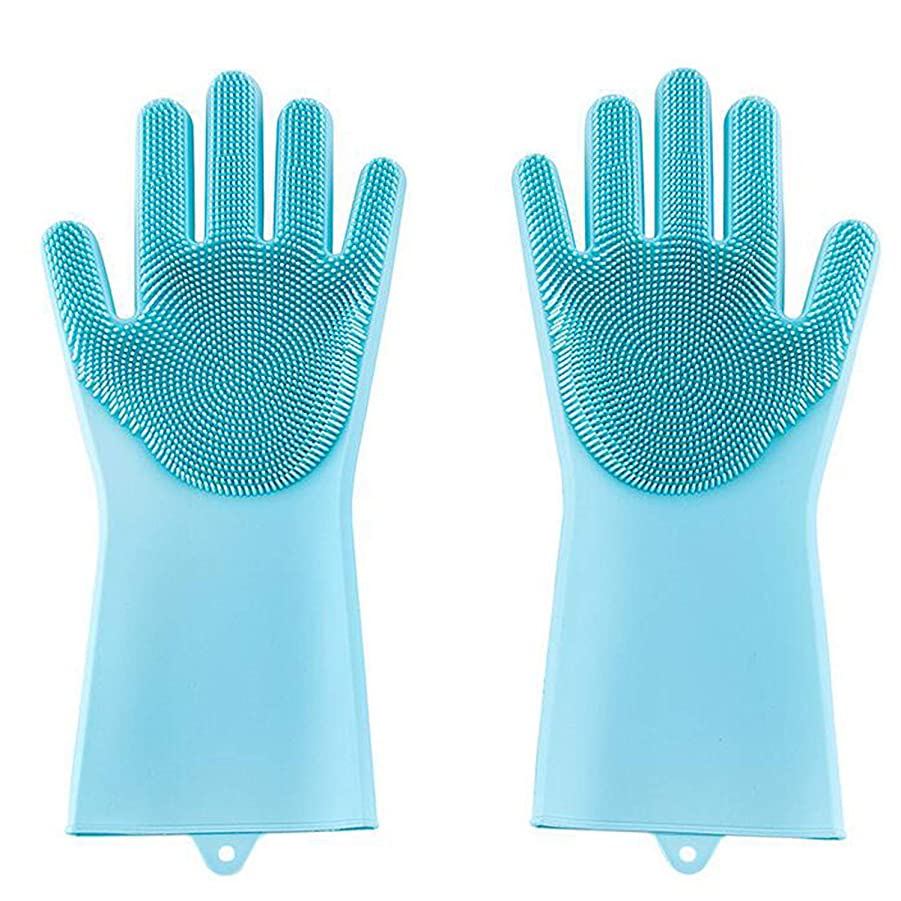 雑種三角敬意を表する洗濯手袋 シリコン手袋 シリコン掃除手袋 (ブルー)