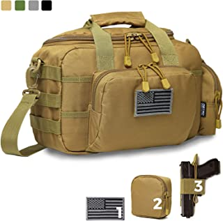 DBTAC Gun Range Bag Small | Tactical 2X Pistol Shooting Range Duffle Bag with Lockable Zipper for Handguns and Ammo | Free Molle Pouch, Hook-Fastener Gun Holster and US Flag Patch Included