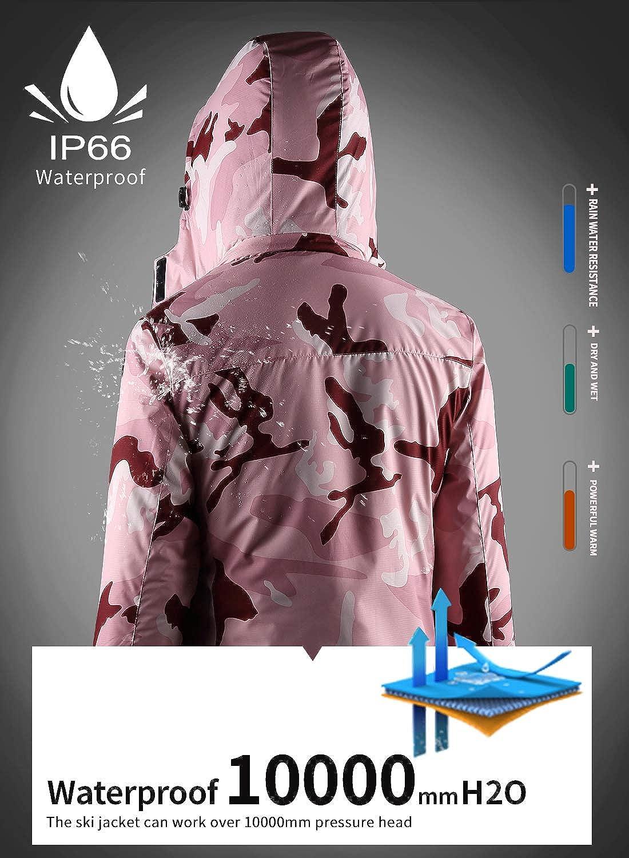 Womens Waterproof Ski Jacket Fleece Windproof Mountain Winter Snow Jacket Warm Outdoor Sports Rain Coat with Removable Hood