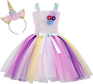 AmzBarley Unicornio/Sirena Vestidos Princesa Niña Fiesta de Tul Tutu con Encaje de Flor sin Mangas Disfraz Halloween Princ...
