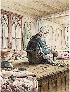 Wee Blue Coo Helen Beatrix Potter The Tailor Of Gloucester At Work Art Print Poster Wall Decor 12X16 Inch