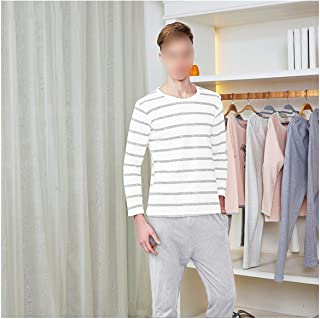 Men Pajama Cotton Gray Striped O Neck Sleepwear Men Clothes Plus Size L 3XL Male Underwear Set