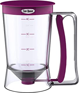Pancake Batter Dispenser with Measuring Label- Perfect for Baking Cupcakes, Waffles, Cakes, and Muffins- No Drip Dispenser...