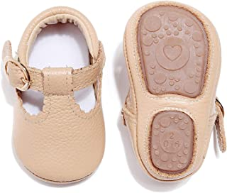 HONGTEYA Leather Leopard Baby Shoes Hard Sole T-Strap Boys Girls Moccasins for Infants Babies Toddlers