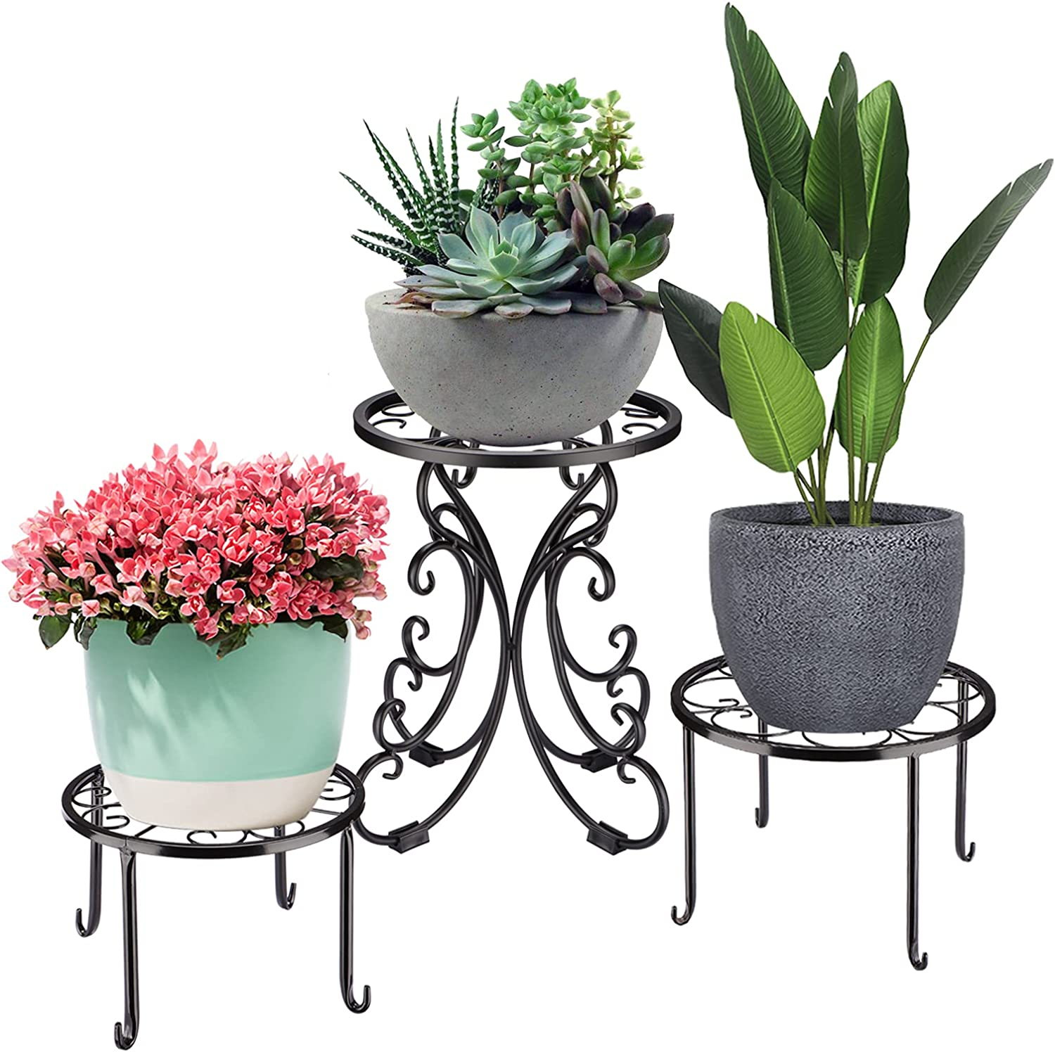 Durppur Potted Black Plant Stand 3-Pack Outdoor Reservation security Ne Metal Indoor