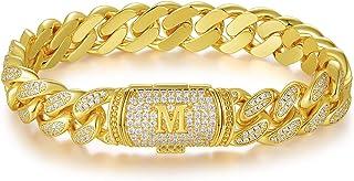 سوار أولي من ETEVON مطلي بالذهب مجوهرات هيب هوب هدية للرجال والنساء عيد الميلاد مجوهرات هدية للزوج والصديق والابن