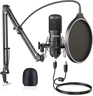 USB Condenser Microphone, Upgraded 192KHZ/24bit Professional Mic Kit for Computer, Streaming Podcast Pc Mic, Singing Recor...