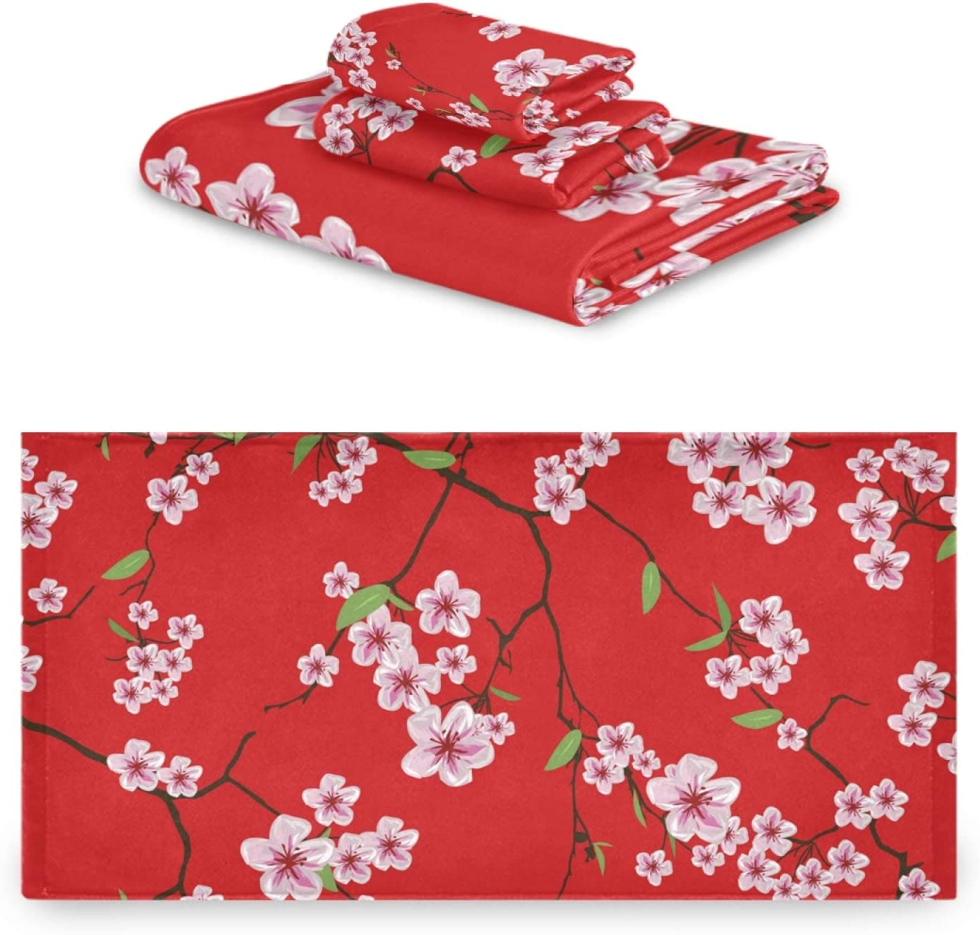 Calmd Towel Max Award-winning store 59% OFF Set 3 Piece Cherry Japanese Soft Bath Blossoms