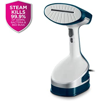 Rowenta DR8120 X-Cel Powerful Handheld Garment and Fabric Steamer Stainless Steel Heated Soleplate with 2 Steam Options, 1600-Watts, White