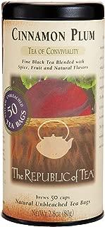 The Republic of Tea Cinnamon Plum Black Tea, 50 Tea Bags, Spiced Black Tea, Gourmet Tea Blend