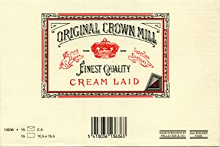 Original Crown Mill C6 Classic Line Texture Laid Card and Envelope - Cream (Pack of 15)