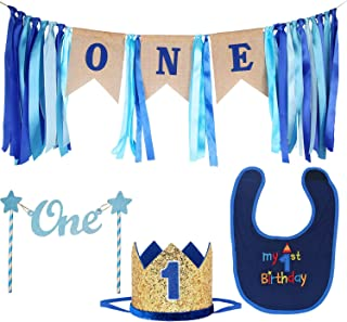 Maticr Baby Boy 1st Birthday Decorations First Birthday Highchair Banner Cake Smash Bibs Large Crown and Cake Topper for Baby Shower Party Supplies