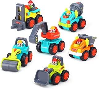 Juego de 6 coches de juguete correderos, camiones de construcción de bolsillo, juguetes para niños mayores de 18 meses – Bulldozer, mezclador de cemento, bombona, elevador de horquilla, excavadora y rodillo de carretera.