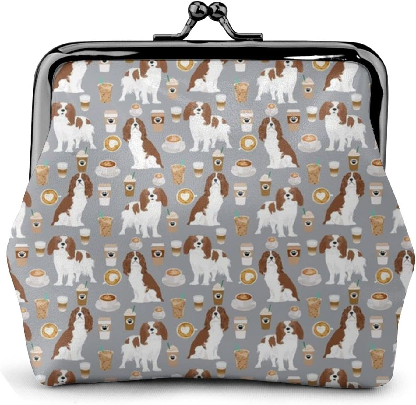 Cavalier King Charles 1435 Coin Purse Retro Money Pouch with Kiss-lock Buckle Small Wallet for Women and Girls