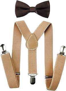Axy, bretelle beige per bambini a forma di Y con papillon, 3 agganci extra forti