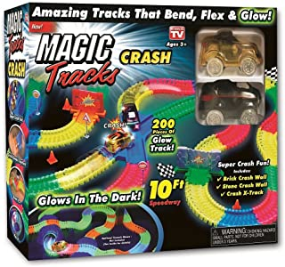 Ontel Magic Tracks Crash - 2 Race Cars and 10 ft of Flexible, Bendable Glow in The Dark Racetrack - As Seen on TV