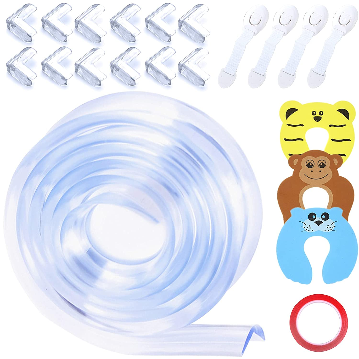 ZYNERY Baby Proofing Edge and Corner Guards, Table Corner Protectors + Furniture Bumpers + Door Stoppers + Drawer Locks, Baby Safety Kit for Fireplace, Stair, Cabinet, Countertop