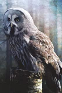 Gray Owl In The Early Morning Light - Lined Notebook with Margins: 101 Pages, Medium Ruled, 6 x 9 Journal, Soft Cover