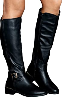 6441e4e59a3 Top Moda Women s Casual Almond Toe Gold Buckle Knee High Boots