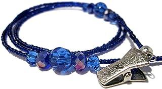 ATLanyards Dark Blue Beaded Eyeglass Holder - Beaded Eyeglass Chain With Clips