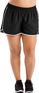 Just My Size Women's Plus Size Active Woven Run Short, Black, 5X