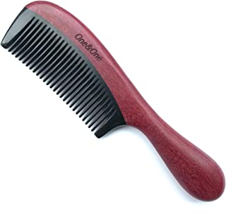 Fine tooth Combs, One&One Purpleheart Wood Hair Comb with Buffalo Horn tooth for Curly hair - Detangler Comb for Women..
