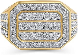 Jewelili 10K White and Yellow Gold 2 Cttw Natural White Round Diamond Mens Ring