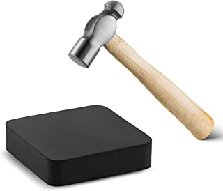 Jewelry Making Supplies Tools Kit - Crafts and Jewelry Mini Hammer, 6-Inch, with One Black Rubber Bench Block, 4 by 4-Inch, for Jewelry Making and for Metal Smiting.