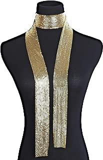 Women Glitter Sparkle Metal Sequins Neck Tie Scarf Party Evening Long Thin Skinny Tie Shawls Neckerchief