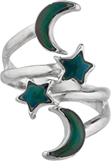 Lux Accessories Galaxy Celestial Crescent Moon Star Wrap Ring