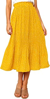 Adogirl Womens Polka Dot Midi Skirt Elastic Waist Flowy Swing Pleated Maxi Skirt with Pockets