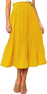 Adogirl Womens Polka Dot Midi Skirt Elastic Waist Flowy Swing Pleated Maxi Skirt with Pockets