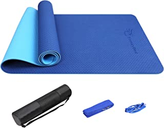 FrenzyBird Eco-Friendly, Reversible, Double-Sided TPE Yoga Mat with Stretch Strap, Carry Strap and Mat Bag,  Free of PVC,  Extra-Thick, Ideal for Yogis