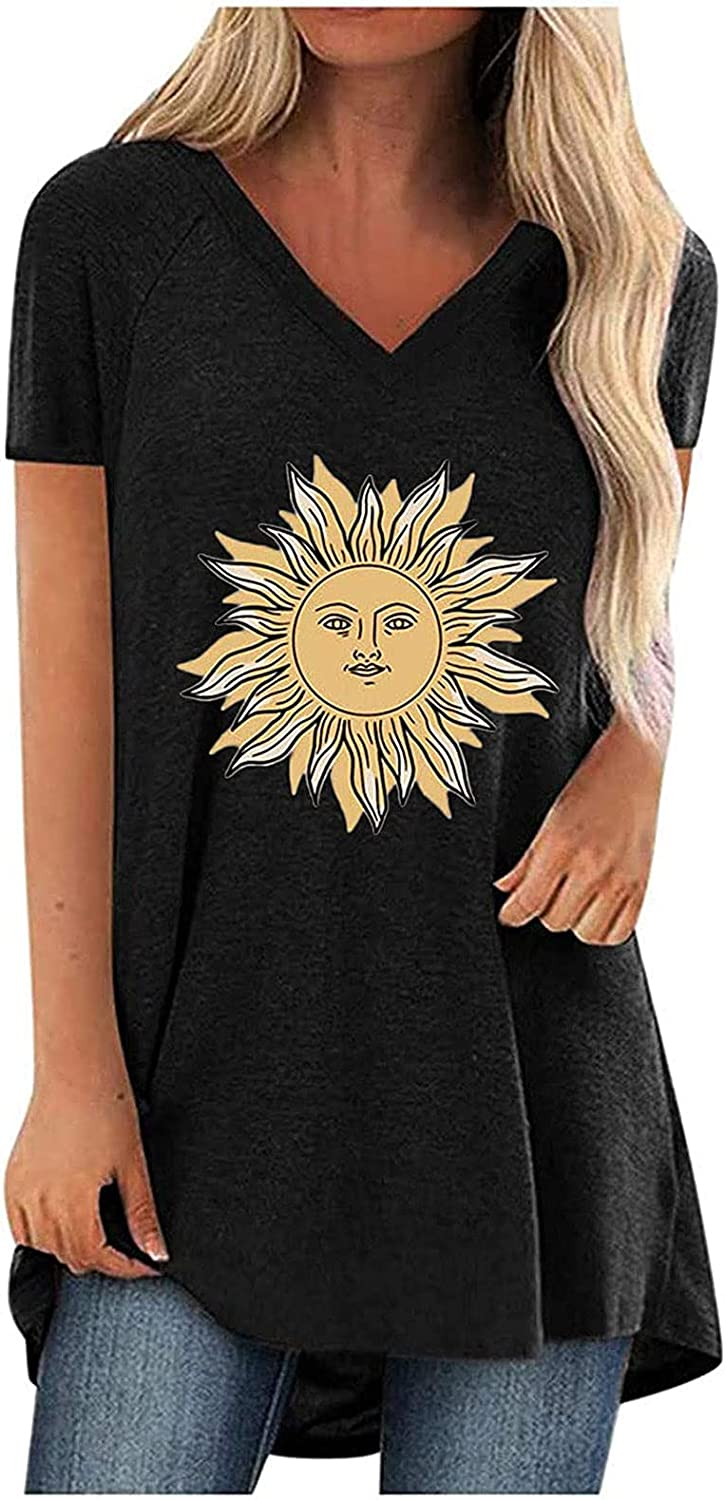 Casual Dandelion Tunic Tops for Leggings for Women Plus Size Short Sleeve O Neck T-Shirts Summer Graphic Tee Blouse