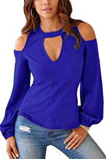 Cold Shoulder Long Sleeve Tops for Women Sexy Cutout Tunics Fashion Blouse