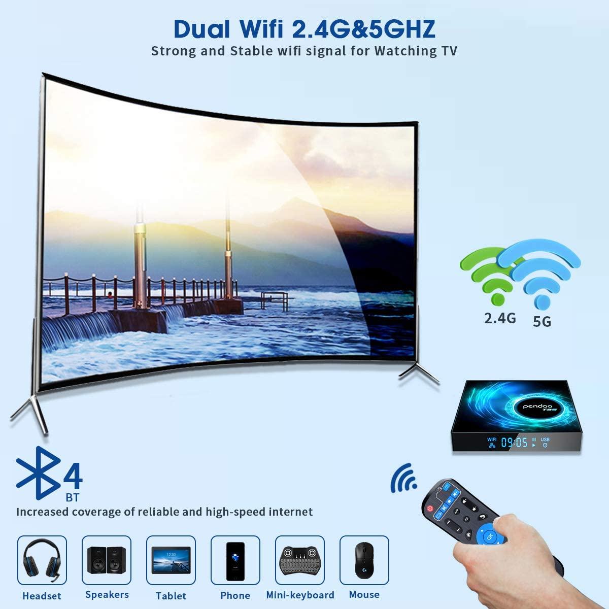 Android TV Box 10.0, 2021 Upgraded Android TV Box 4GB 32GB Allwinner H616 Quad-Core 64bit, Support 2.4G/5.8GHz WiFi & BT 4.2 with 3D/4K Utral HD/H.265 Android Box