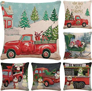 Faylapa 6 Pack Christmas Series Pillow Cases,Red Truck Tree Snowman Decorative Cushion Cover Cotton Linen Pillowcase Indoor Sofa Decorations 18×18 Inches (45×45cm)(Case ONLY)