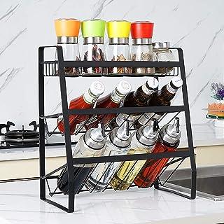 Vinteky Estantería de Especias, Especiero de Cocina con 3 Niveles para Botes de Especias, 35 * 18 * 38 cm, Negro