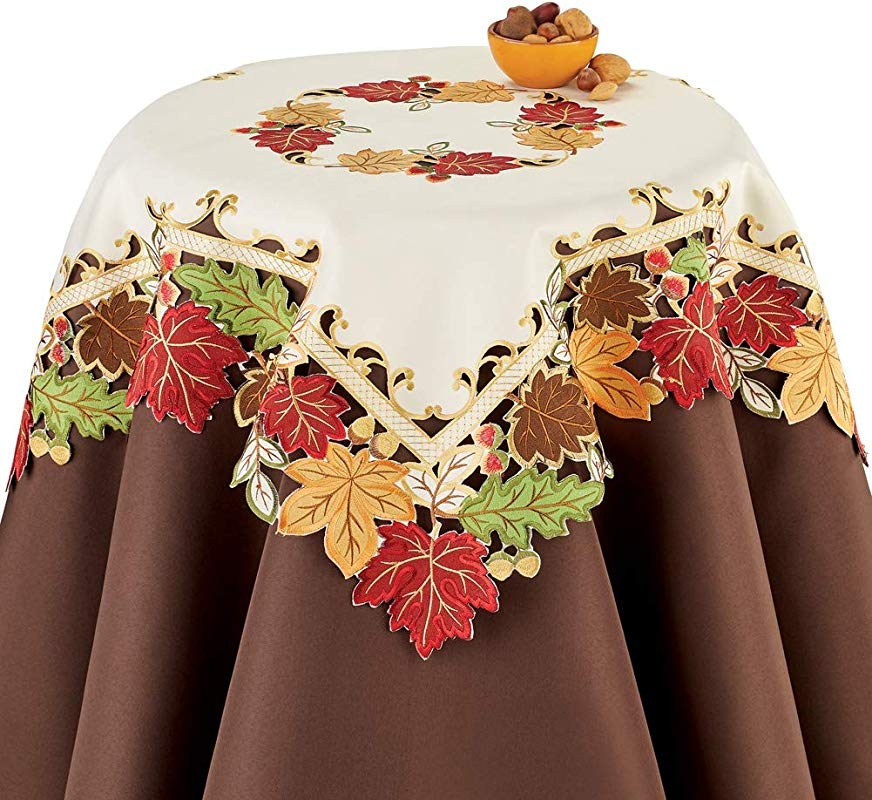 Faux Suede Embroidered Leaves Fall Table Linens To Protect Your Table With Seasonal Style