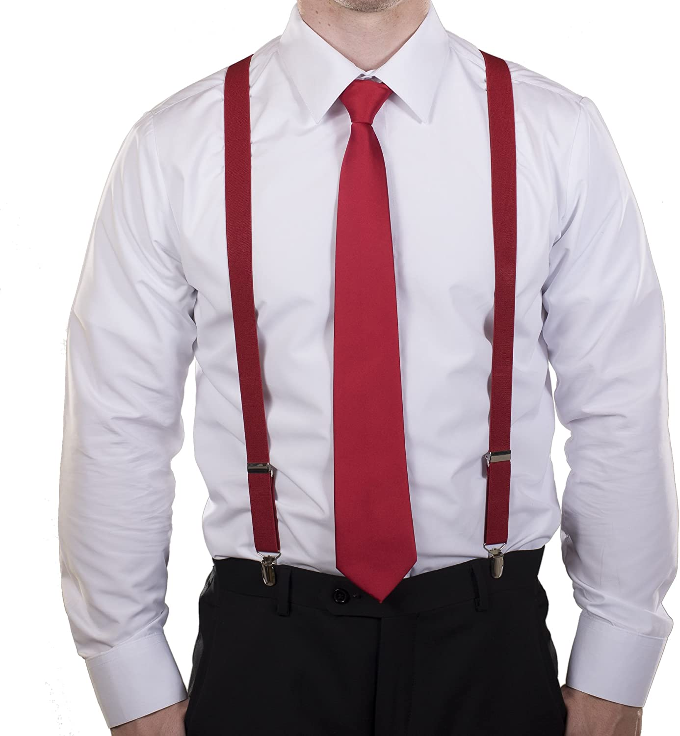Tuxgear Mens Neck Tie and Suspender Set (Classic Collection)