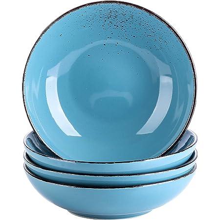 vancasso, Série Navia, Assiette Creuses en Porcelaine, Assiette à Soupe Saladier, 4 Pièces- 700 ML