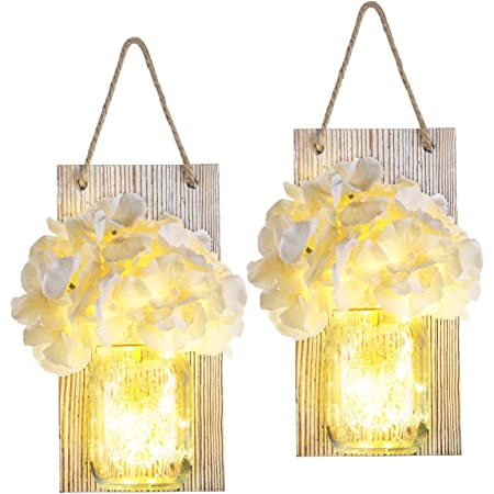 Decorative Mason Jar Sconces Wall Decor Rustic for Home Decor 6 Hours Timer Decorative Flower Wall Decor with LED Strip Lights, Silk Hydrangea, and Wrought Iron Hooks for House Decoration, Set of 2