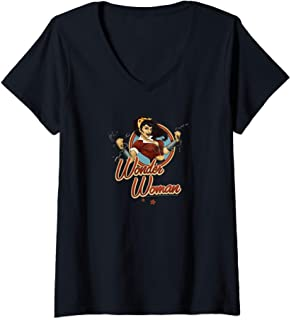 Femme DC Comics Bombshells Wonder Woman Badge T-Shirt avec Col en V