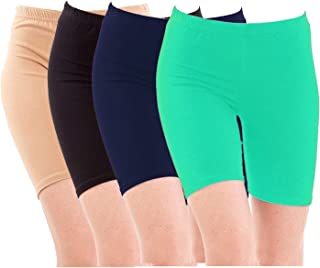 Pixie Biowashed Cycling Shorts for Girls/Women/Ladies Combo (Pack of 4) Beige, Black, NavyBlue, Turquiose - Free Size