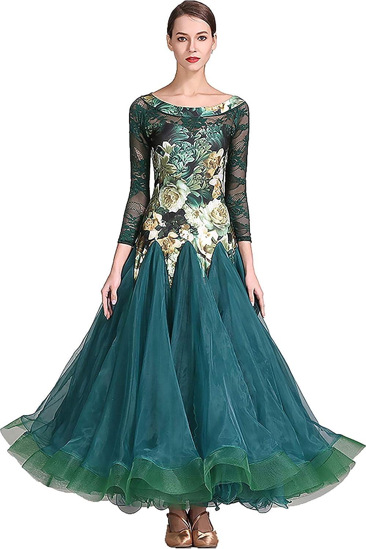 SIQIAN Womens Lace Floral Pattern International Standard Ballroom Dance Dress Party Costume Evening Modern Dress